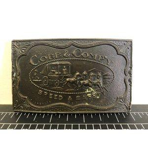Vintage brass belt buckle Cobb & company horses
